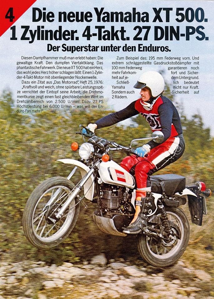 Yamaha XT500 Werbung von 1977
