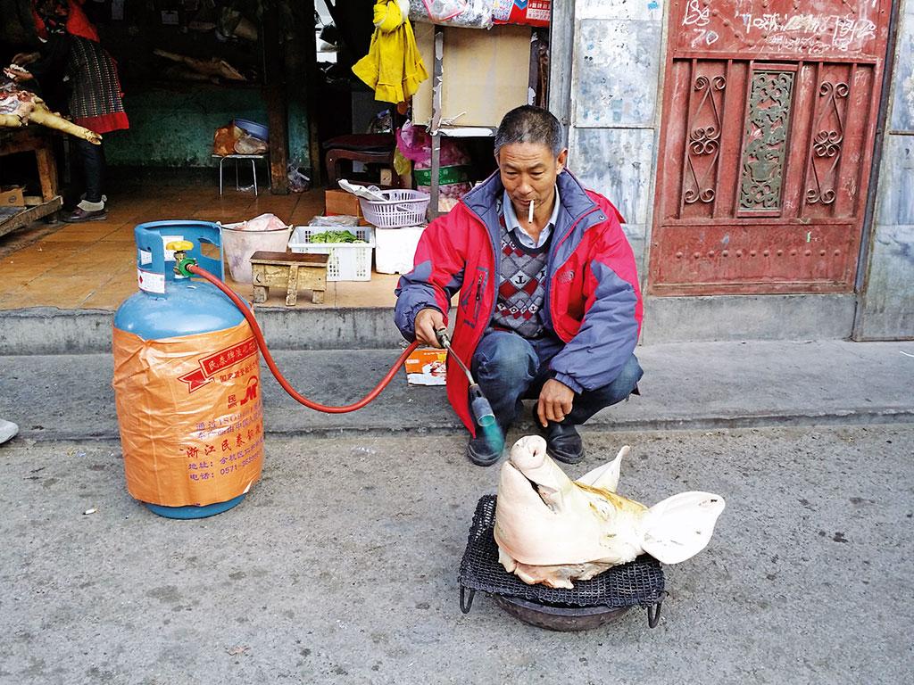Borsten abflammen am Straßenrand - Motorrad-Gruppenreise Yunann, China