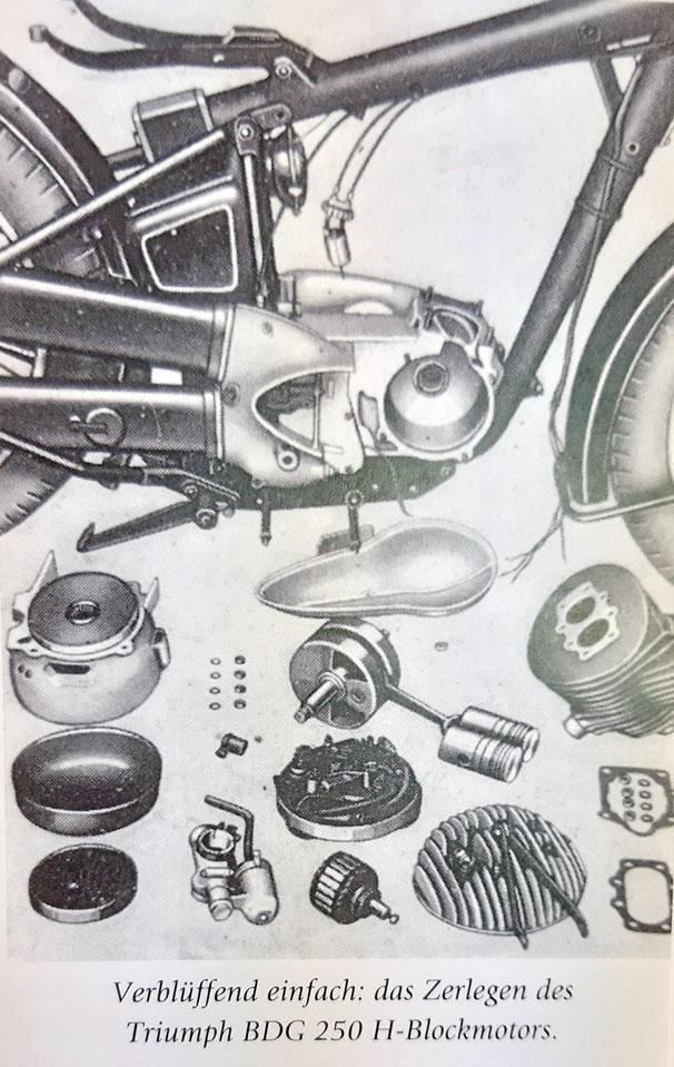 Motoraufbau Triumph BDG 250 Bj. 1957