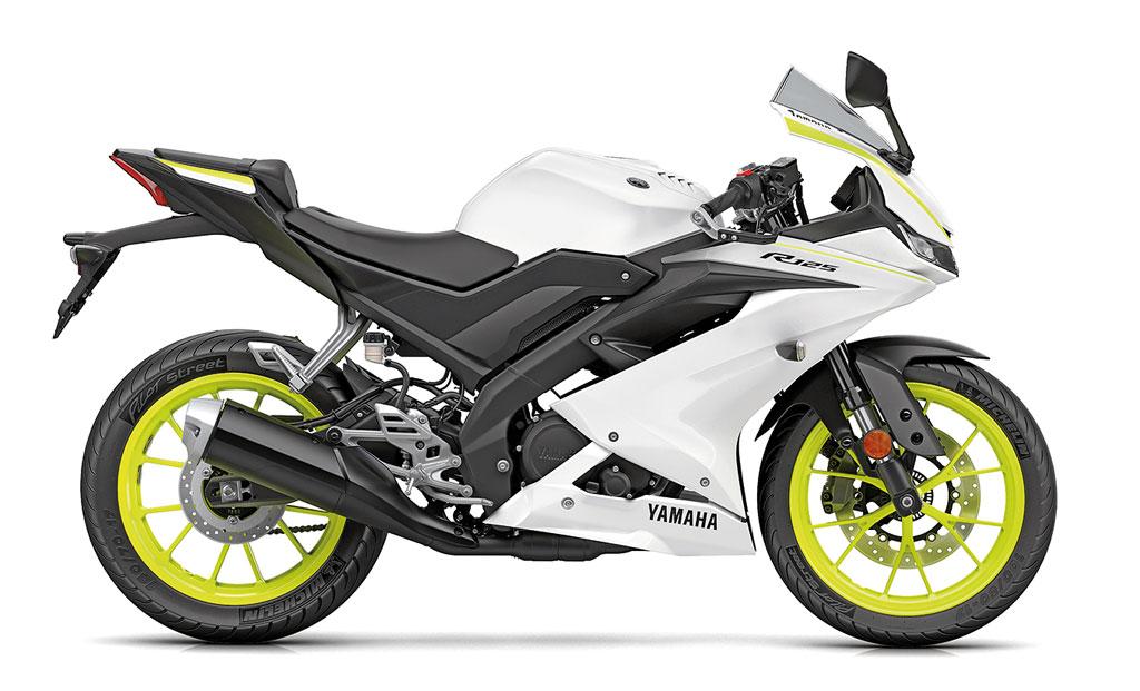 Yamaha YZF-R125 Modell 2019 in weiß-neongelb