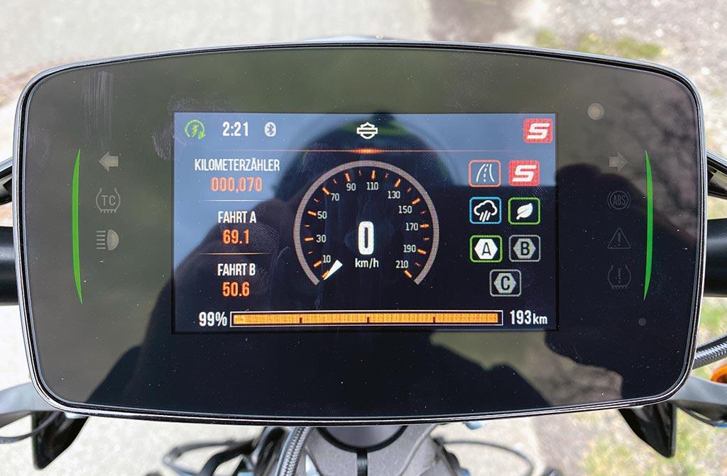 TFT-Display der Harley-Davidson LiveWire