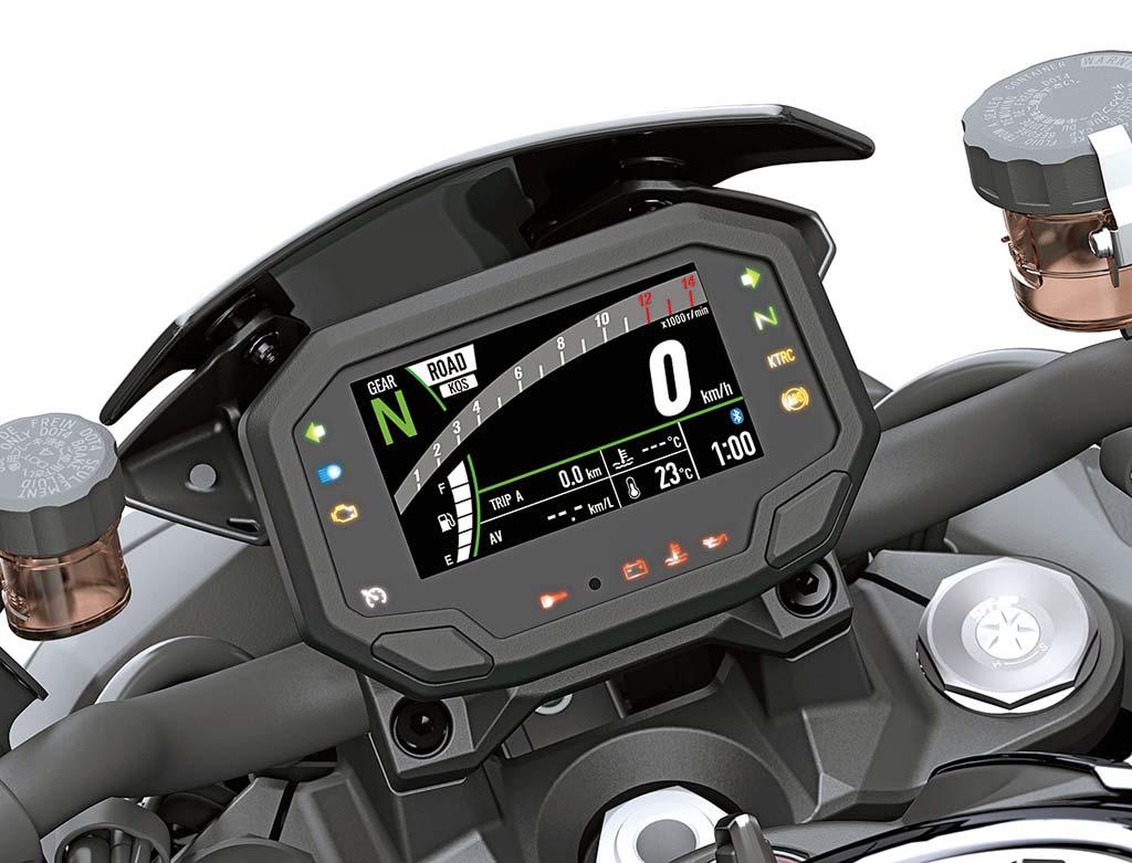 Das Cockpit der Kawasaki Z H2, Modell 2020