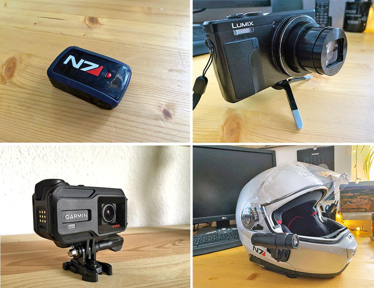 GPS-Recorder, Lumix Travelzoom mit Ministativ, Garmin VIRB XE, PRISM-Tube-Kamera am Helm - Ausrüstung silencer137