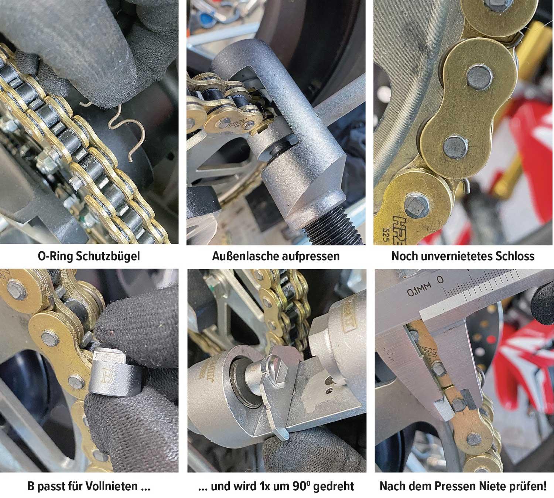 Weitere Arbeitsschritte beim Kettenwechsel mit dem Louis Kettentrenn- und Vernietwerkzeug
